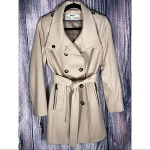 DKNY Doble Breasted Stand Collar Wool Blend Trench